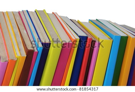 colorful old books isolated on white background - stock photo