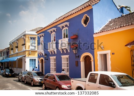 Colorful old houses in Cartagena, Colombia - stock photo