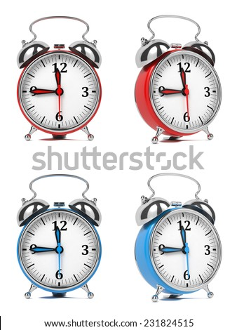 Colorful Old Style Alarm Clocks Isolated on White Background. - stock photo
