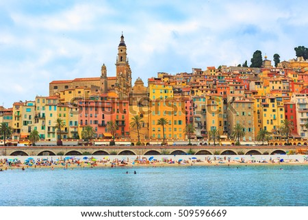 Colorful old town Menton on french Riviera, France