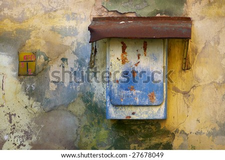 Colorful old wall with paint peeling off