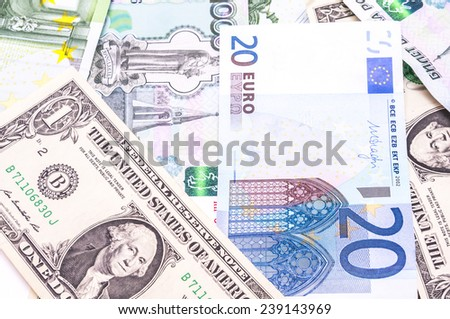 Colorful old World Paper Money background :ruble, euro, dollar - stock photo