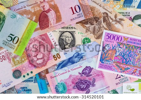 Colorful Old World Paper Money background with animals