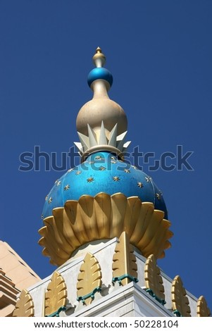Colorful onion domes with blue background