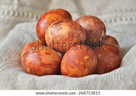 Colorful onion dyed easter eggs - stock photo