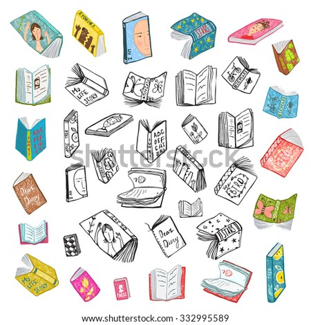 Colorful Open Books Drawing Library Big Collection in Black Lines and Colored. Big set of hand drawn brightly colored black and white outline literature covers illustration. Raster variant. - stock photo