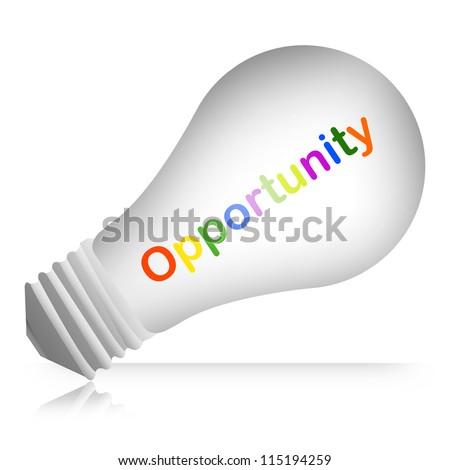Colorful Opportunity Text Inside The Light Bulb For Opportunity Concept Isolated on White Background - stock photo