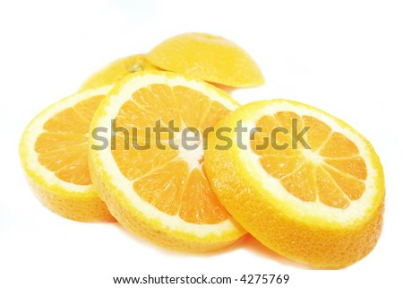 Colorful Orange Slice on white background