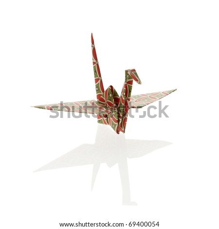 Colorful Origami crane, isolated on white background.
