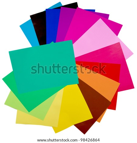 Colorful origami fan pattern made of curved sheets of paper. Isolated with clipping path on background