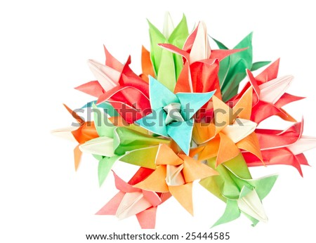 Colorful origami flower ball isolated on a white background - stock photo