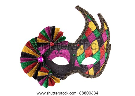 Colorful original festive carnival mask on white background - stock photo