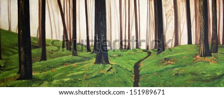 Colorful original oil painting of a forest - stock photo