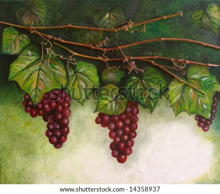 Colorful original oil painting showing a grapevine