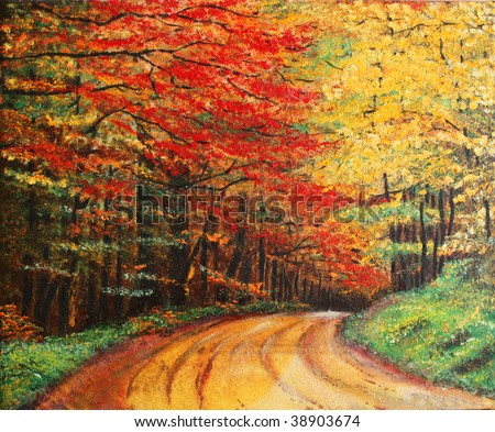 Colorful original oil painting showing a road forest - stock photo