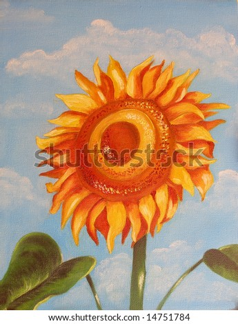 Colorful original oil painting showing a sun flower