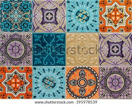 colorful ornament ceramic tiles patterns . horizontal photo - stock photo