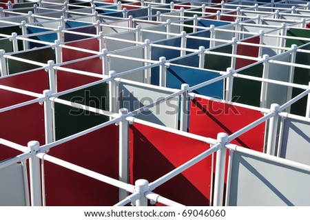 Colorful Outdoor Maze - stock photo