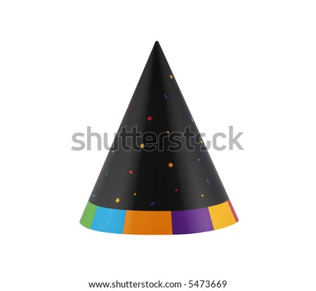 Colorful over the hill birthday party hat - stock photo