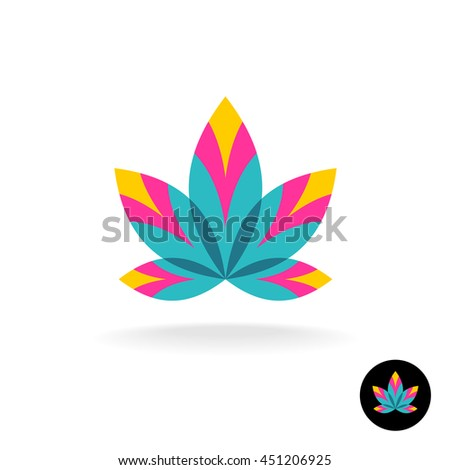 Colorful overlay five leaves zen or spa logo template