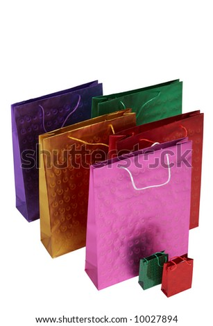 Colorful packages isolated on the white background - stock photo