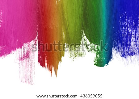Colorful paint brush strokes on white as a background - stock photo