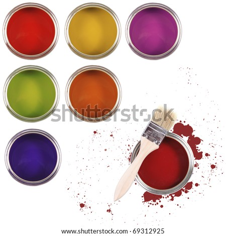 colorful paint buckets with color spots and paintbrush isolated on white background