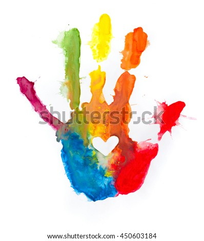 colorful paint hand print heart on stock photo edit now 450603184