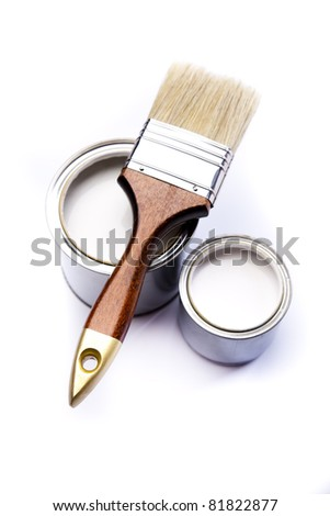 Colorful paint, Paintbrush - stock photo