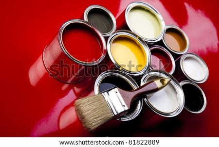 Colorful paint, Paintbrush - stock photo