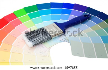 Colorful paint samples over white with paint brush - stock photo