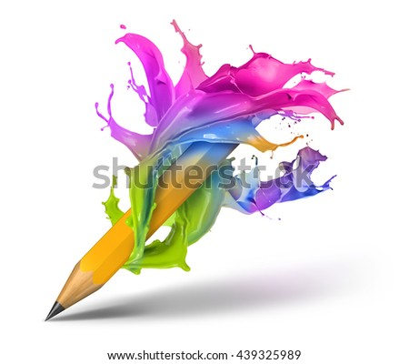 Colorful paint  splash around pencil 3D illustration isolated background