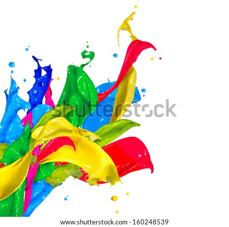 Colorful Paint Splash Isolated on White Background. Abstract Colored Splashing. Multicolor Paint Splatter - stock photo