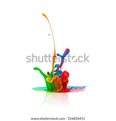 Colorful paint splashing isolated on white backgorund - stock photo