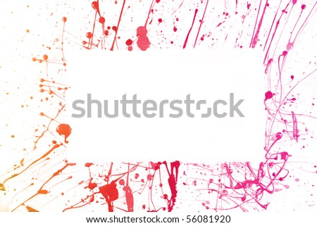 colorful paint strokes frame isolated