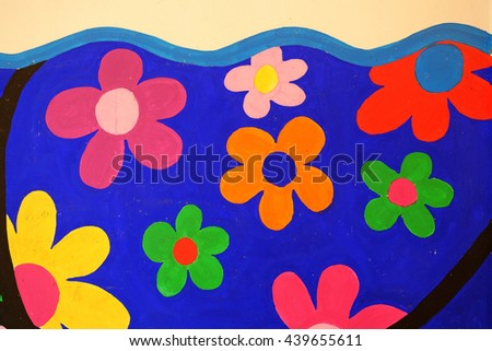 Colorful painted concrete wall.  - stock photo