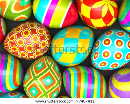 Colorful painted easter eggs 3D - stock photo