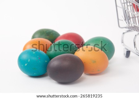 colorful painted Easter eggs on a white background