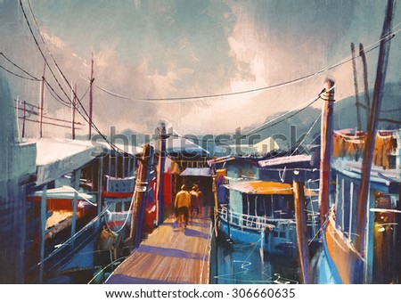 colorful painting of fishing boats in harbor in summer, - stock photo