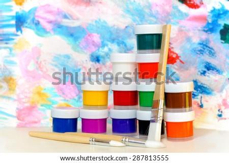Colorful paints - stock photo