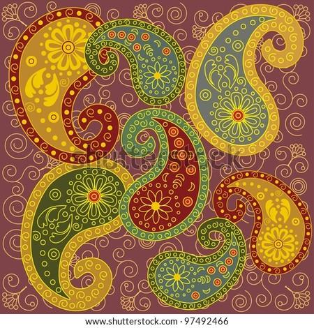 Colorful Paisley Background - stock photo
