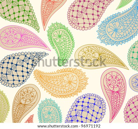 colorful paisley pattern, illustration
