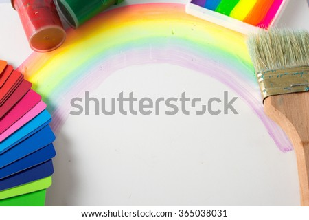 colorful palette and paint - stock photo