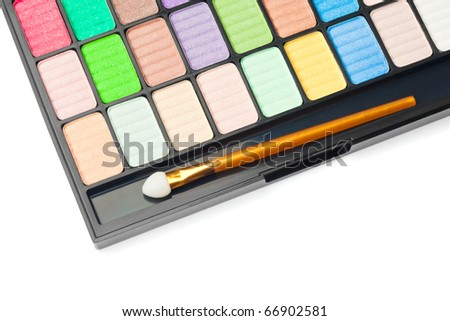 Colorful palette for makeup on white background - stock photo