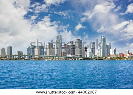 Colorful panorama of the downtown financial buildings in Miami Florida on a beautiful sunny day with blue bay waters and sky in the background