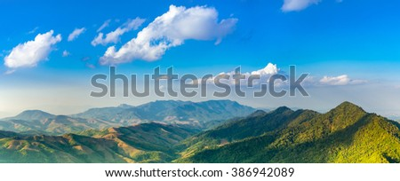 colorful panorama of the mountains in autumn . beautiful  view on the mountain - stock photo