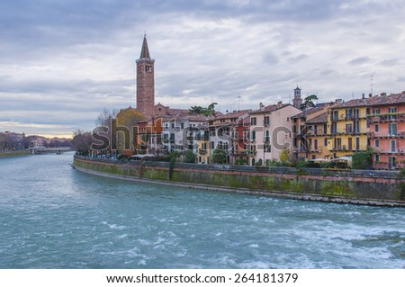 Colorful panoramic view of Verona and river Adige, Italy. - stock photo