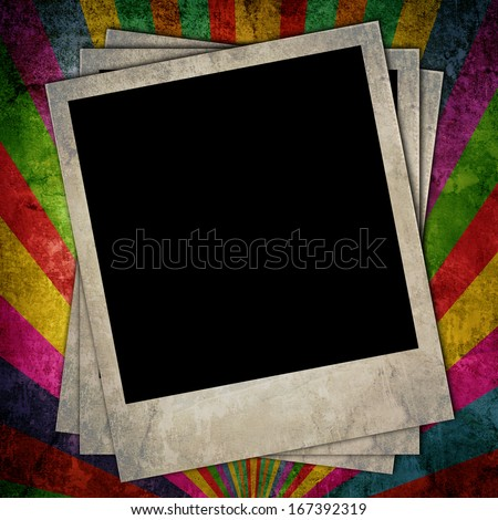 Colorful paper background with stripes and retro photo frames - stock photo