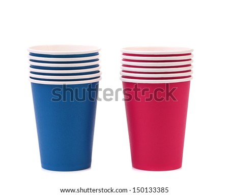 Colorful paper coffee cup. - stock photo