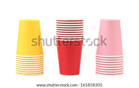 Colorful paper coffee cup.  Isolated on white background